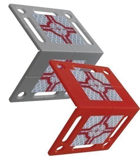 Plaquette angulaire cible rs80 grise et rouge, Vente de cible reflechissante, Topographie-lepont.fr