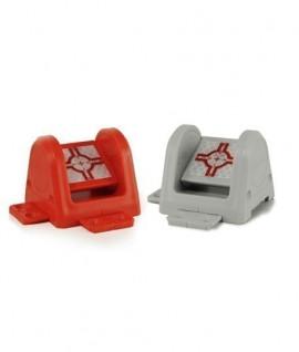 Boitier pivotable RS183 rouge et gris avec point de visée réflecteur-Topographie-lepont.fr