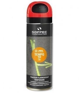Tempo TP Rouge fluorescent SOPPEC , Traceur et bombe peinture de chantier fluorescente temporaire SOPPEC TempoTP Electricité