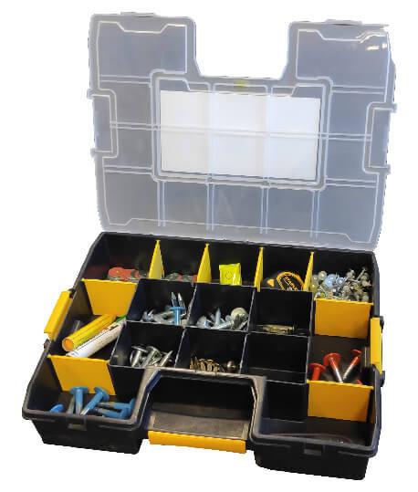 Mallette à outils, boîte repère, boite clous, rangement arpentage