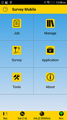 Accueil du logiciel Spectra Survey Mobile